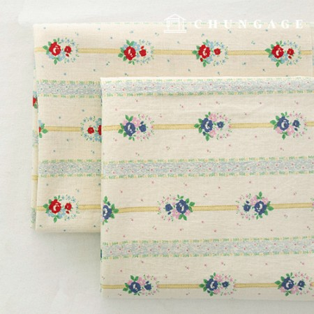 Cotton Fabric Bio-washed Wide Vintage Flower Floral Fabric Provence 2 Types