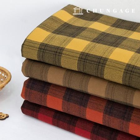 Yarn Dyed Napping Check Span Fabric Vintage Check Randy 4 Types