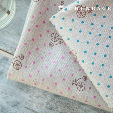 2 wide linen cotton hemp bicycle dots