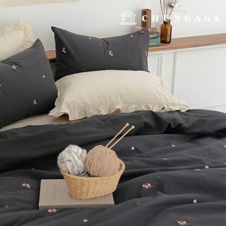 Linen embroidery fabric cotton blossoms wide 1 / 2Hermp E-011