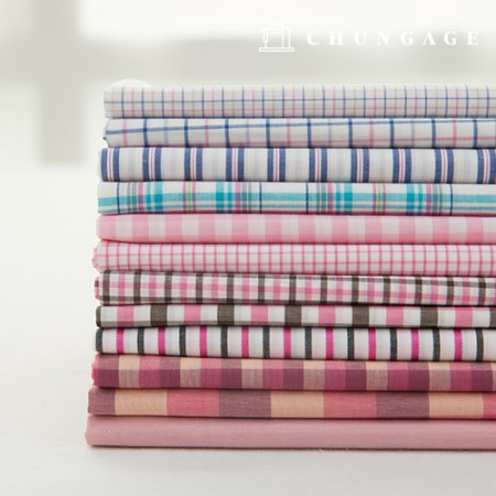 Cotton Check Fabric Ombre Dyed Check Stripe Plain Fabric Lucia 12 Types