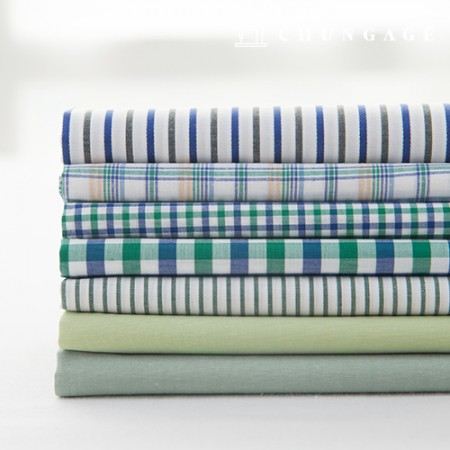 Cotton Check Fabric Ombre Dyed Check Stripe Plain Fabric Forest 7 Types