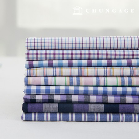 Cotton Check Fabric Ombre Dyed Check Stripe Plain Fabric Grape 9 Kinds
