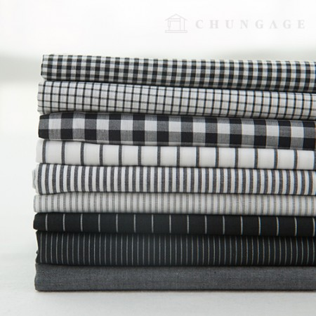 Cotton Check Fabric Ombre Dyed Check Stripe Plain Fabric 9 Types