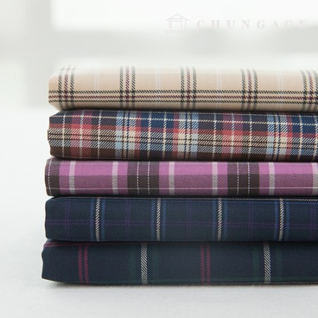 Cotton Check Fabric Vintage Twill Check Fabric Paula 5 Types