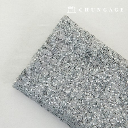 Mesh Race Embroidery Fabric Silver Spangle Ice Gray