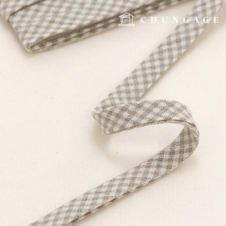 Cotton Bias Vintage Pastel Check Bias Tape 10mm 8 Types