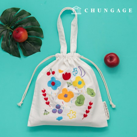 French Embroidery Package Flower DIY Kit Rainbow Island Eco Bag CH-560157 Homemade Hobby