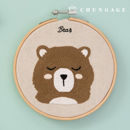 French Embroidery Package Animal DIY Kit Forest Friends Bear CH-511383 Homemade Hobby