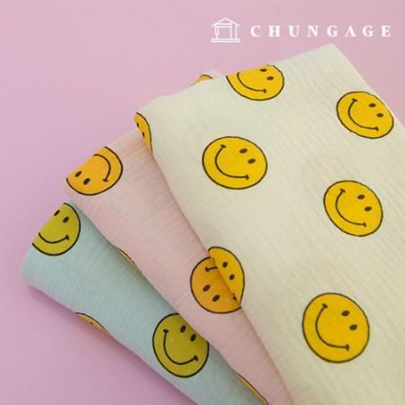 Double Gauze Yoru Fabric Cotton Non-Fluorescent Fabric Dishcloth Making Smile 3 Types