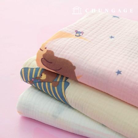 Double Gauze Yoru Fabric Cotton Non-Fluorescent Fabric Dishcloth Making Dreamland Bear 3 Types