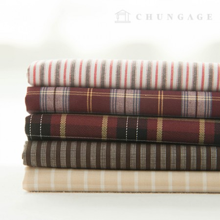 Cotton Check Fabric Ombre Dyed Check Stripe Hazel 5 Types