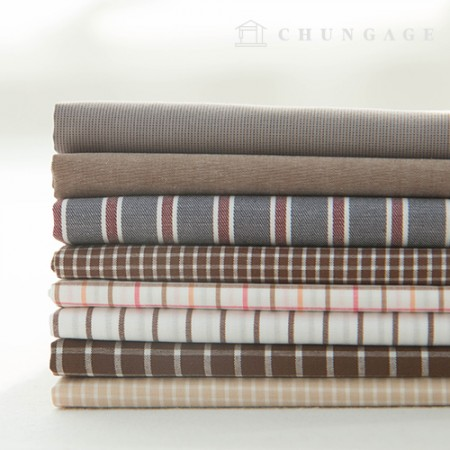 Cotton Check Fabric Ombre Dyed Check Stripe Plain Brown Mood 8 Types