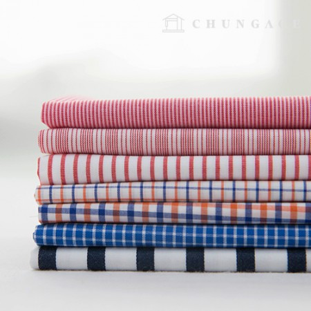 Cotton Check Fabric Yarn Dyed Check Stripe Fruits 7 Types