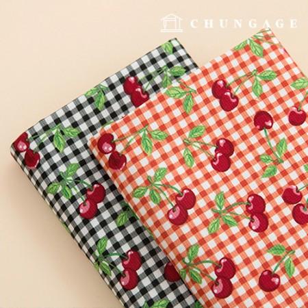 Oxford Slub Fabric Wide Cotton Fabric Cherry Picnic 2 Types