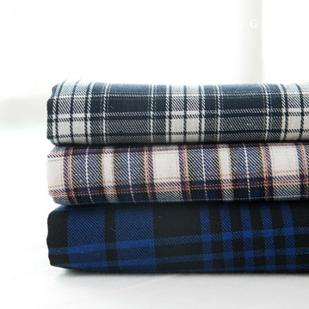 Check fabric cotton blend yarn dyed check navy blue 3 types