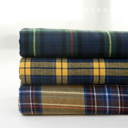 Check fabric cotton blend yarn dyed check yellow line 3 types