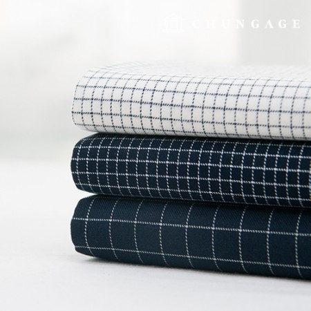 Cotton Raised Check Fabric Vintage Fabric Clean Navy 3 types