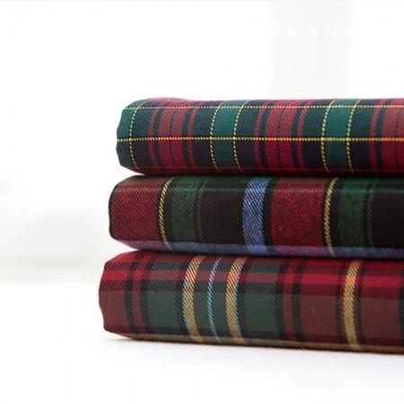 Cotton Raised Check Fabric Vintage Fabric Winter Cherry 3 Types