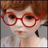 MSD - Round Steel Lensless Frames Glasses (Red)