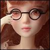 12inch doll -  Round Steel Lensless Frames Glasses (Black)