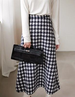 Check Flare Long Skirt - 2c