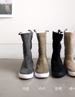 Suede lining fur middle boots