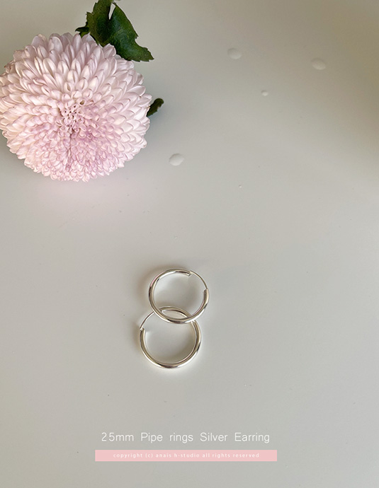 25mm pipe ring Silver earring