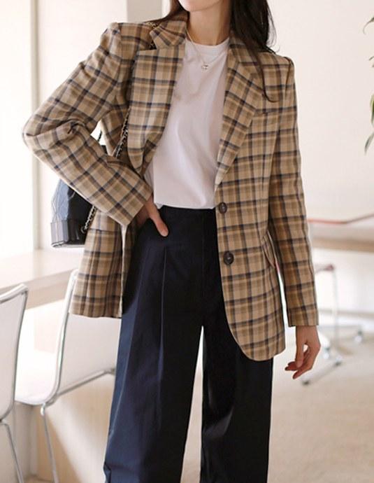 Tailoring check jacket