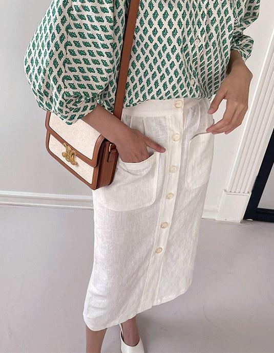 Melon Linen Skirt