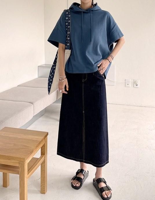 Stock Slit Denim Skirt