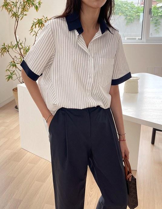Collar Coloring Stripe Shirt