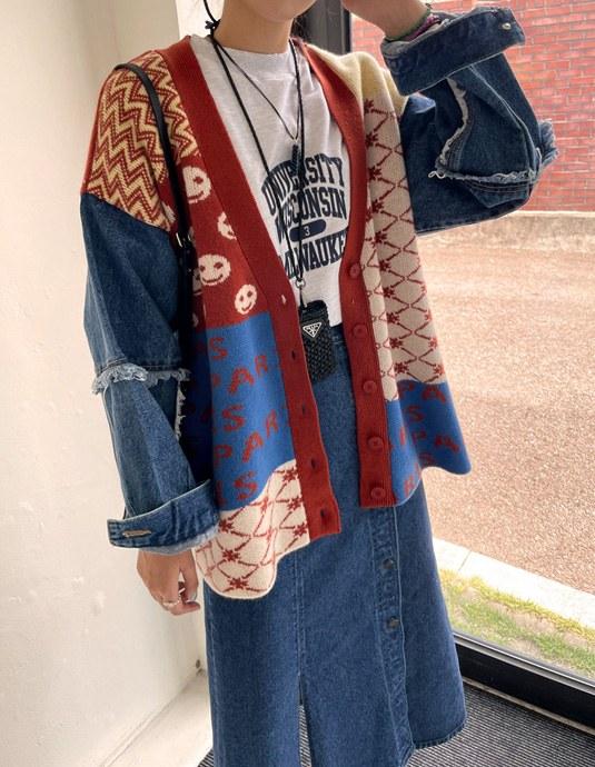 Denim sleeve loose fit Cardigan