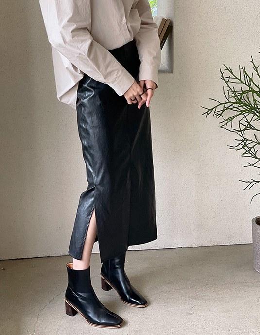 Elf Slit Leather Skirt