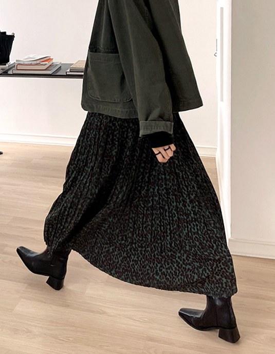 Pleats Leopard Long Skirt
