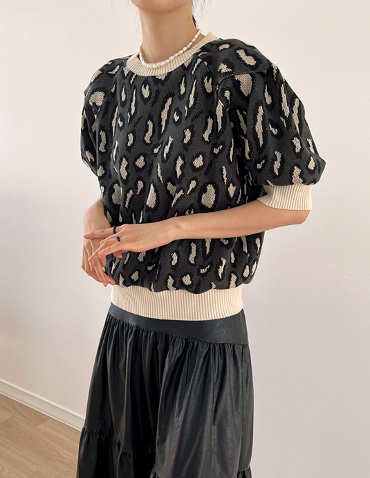 Leopard Half Sleeve Knit Top