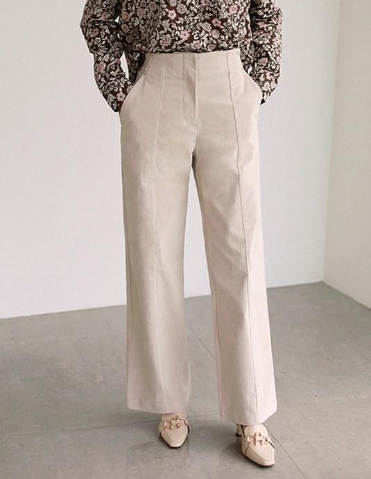 Snap Wide Corduroy Pants