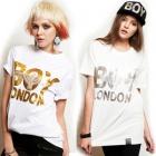 ★当日発送★ 韓国人気ブランド★最近人気を集めているストリートファッションブランドBOY LONDON st.Silver or Gold printing Eagle Boy half T-shirt