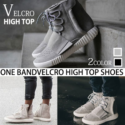 [24.5~27.0cm]KANYE WESTスタイル!ONE BAND ベルクロハイトップシューズ/ONE BAND BOOT VELCRO HIGH TOP SHOES