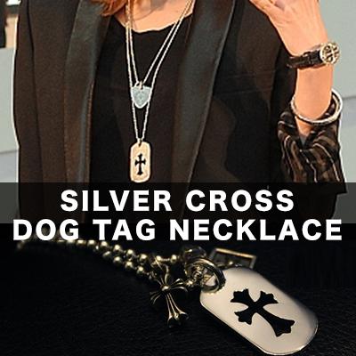 シルバークロスドッグタグネックレス/SILVER CROSS DOG TAG NECKLACE/スターリングシルバー Sterling silver 92.5%