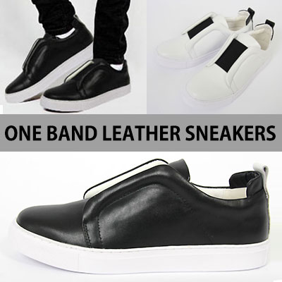 [25.0~28.0cm]シンクロ率は完璧!豪華なスタイルのバンドスニーカー(WHITE,BLACK)/ONE BAND LEATHER SNEAKERS
