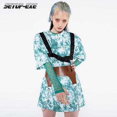 【SETUP-EXE】Tie-dye belt T-shirt - green