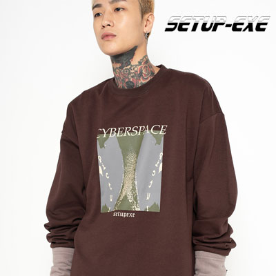 【SETUP-EXE】Cyber tunnel T-shirt - brown