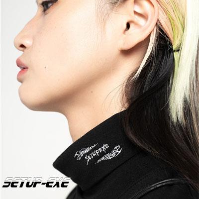 【SETUP-EXE】Fire logo turtleneck T-shirt - black
