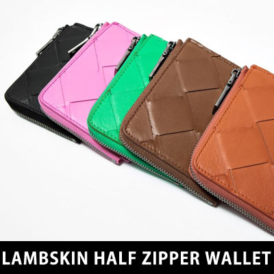 [UNISEX] ラムスキンハーフジッパーウォレット/財布 (5color)