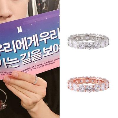 [UNISEX] BTS/Jin/防弾少年団/ジン st. クリスタルカッティングキュービックジルコニアリング/指輪(2color)