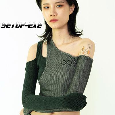 【SETUP-EXE】Asymmetry crop T-shirt - grey