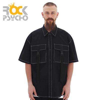 【ROCK PSYCHO】バックルカーゴハーフシャツ