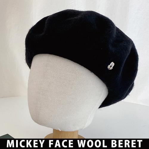 [UNISEX] ミッキーフェイスウールベレー帽