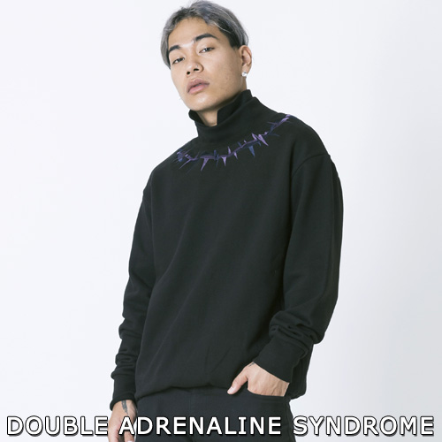 【2XADRENALINE】CROWN OF THORNS MOCK-NECK SWEATSHIRTS -black